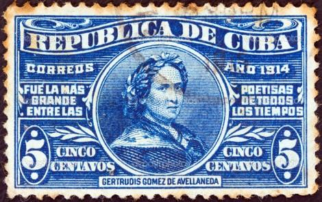 A-stamp-printed-in-Cuba--poetess-Gertrudis-Gomez-de-Avellaneda-1814-1873-circa-1914.-
